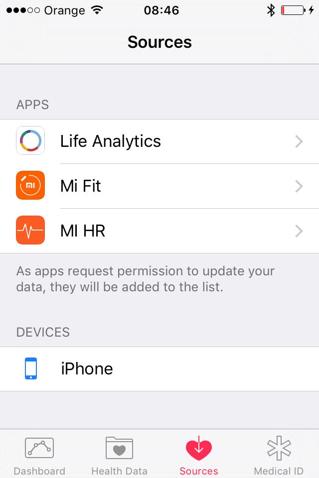 Connect Mi Band through Apple Heatlh : WeFitter