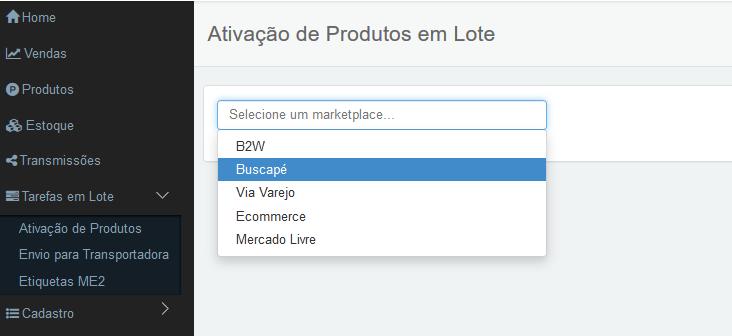 selecionar marketplace