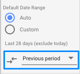 Comparison Date Range setting in DS