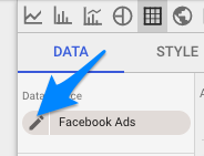 Data Source data element with arrow pointing to pencil edit icon