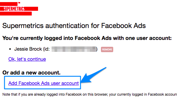 Log-in popup for Facebook Ads, with add new account link highlighted