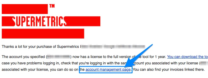 Purchase email with arrow pointing to account man link