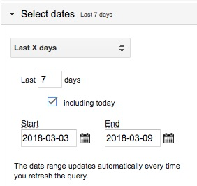 Example date range showing settings for last 7 days