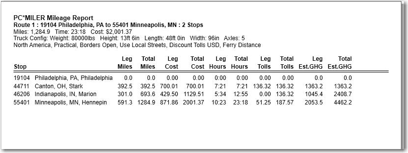 report mileage report pc miler