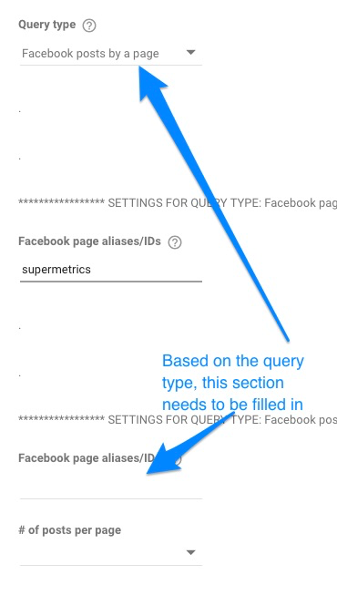 Example showing Facebook posts by page query section is empty
