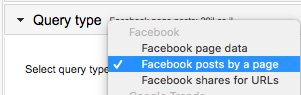 Query type drop-down with Facebook posts by a page selected from the options
