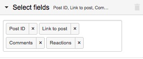 Example selection of fields for the post data, like post ID, link to post, and comments count