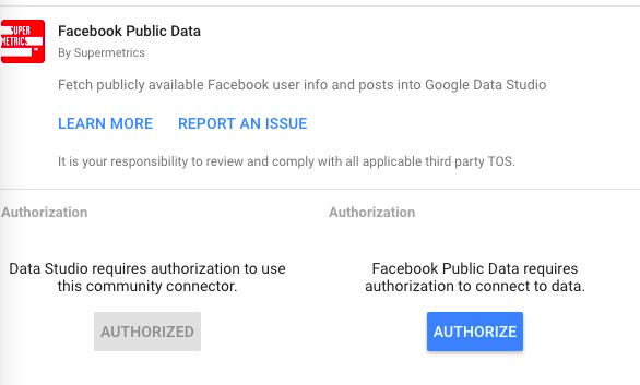 Facebook public data connector authorization process