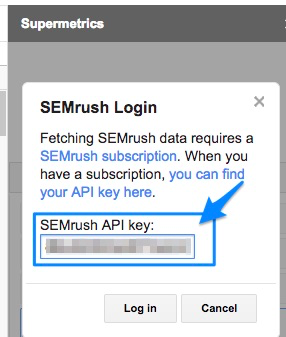 Blue arrow points to the API Key field to log in to the SEMRush service