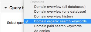 Highlighting the 'Domain organic search keywords' query in the drop-down