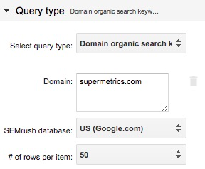 Example query setup in Google Sheets add-on