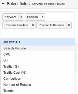 Example metrics selection, also showing the other possible options