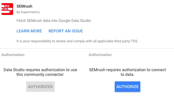 Authorization step for SEMRush connector, with blue authorize button
