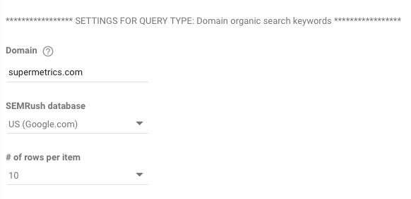Example query setup in Data Studio connector