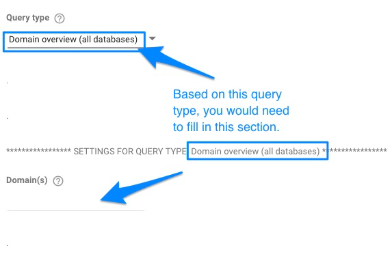 Example of Domain overview query type not having an value in the settings