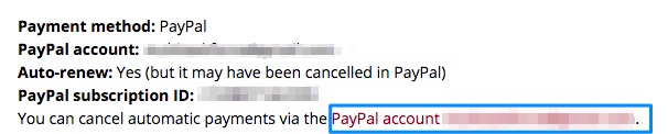PayPal text for automatic payments, with blue box around the link