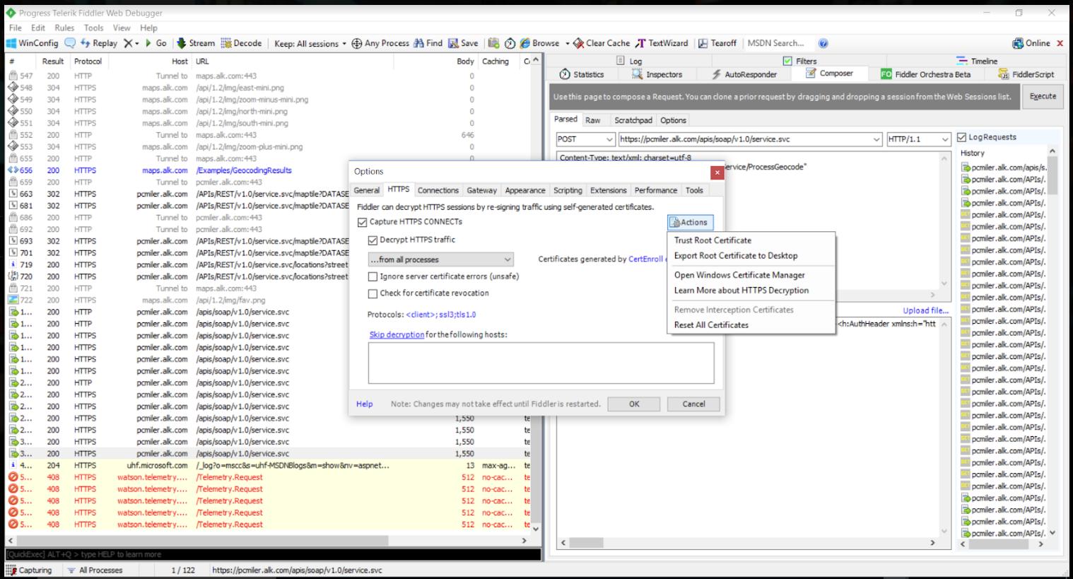 Capture Web Services Requests using Fiddler : PC*MILER