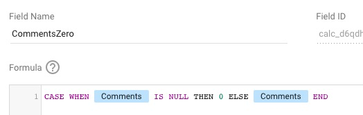 Example CASE formula to turn null values into 0 for Data Studio