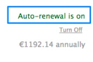Green text showing auto-renewal is enabled.