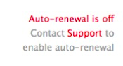 Red text showing auto-renewal is off and ineligible for turning on with Team Mgmt