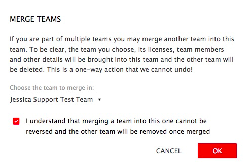 Warning text for merging teams and setting the team to merge.