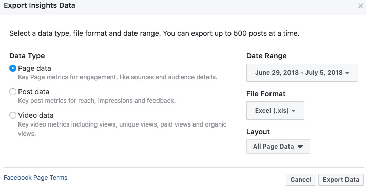 Export Insights options to generate report