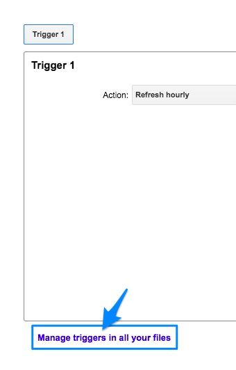 Blue arrow pointing to violet link for managing all your triggers