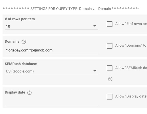 Example Domains formatting for searching for keywords