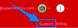 "Blue arrow pointing to ""support"" link in upper right-corner of UI"