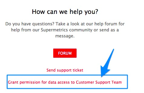 "Blue arrow pointing to red hyperlink to ""Grant permissions for data access""."