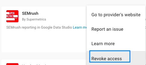 "Blue box around ""Revoke access"" text that appears when clicking the three-dot option menu"