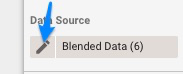 Blue arrow pointing to pencil shaped edit icon next to the selected data source.