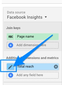 Blue arrow pointing to pencil icon that shows up when hovering over the metric/dimension name for Total Reach