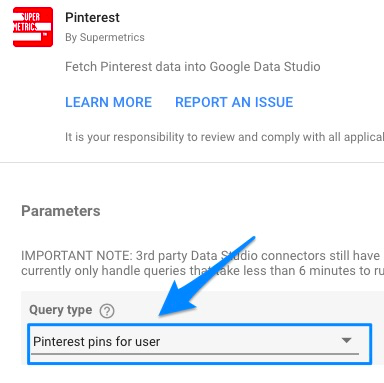 """Blue arrow pointing to """"query type"""" drop-down in initial connector configuration"""