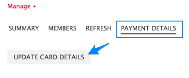 "Blue box highlighting ""PAYMENT DETAILS"" tab and blue arrow pointing to button to ""UPDATE CARD DETAILS"""
