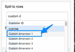 "Blue arrow pointing to ""custom dimension 1"" in the dimension selection box of the sidebar"