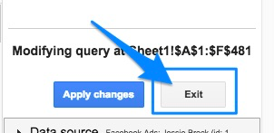 "Blue arrow pointing to the ""Exit"" button to end editing a query."