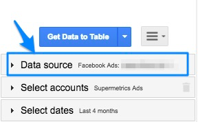 "Blue arrow pointing to ""Data source"" section of the sidebar"