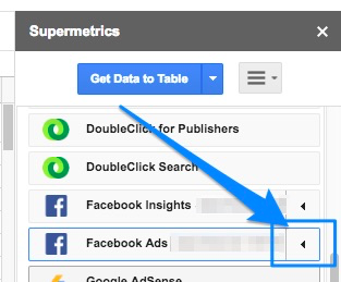 Blue arrow pointing to black left-pointed arrow that will expand the Facebook Ads element in the example