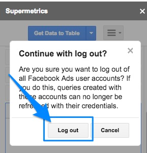 "Blue arrow pointing to button to ""Log out"" on pop-up asking user to confirm they want to log out"