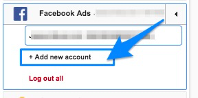 "Blue arrow pointing to UI element to ""+ Add new account"" so you can log in additional users"