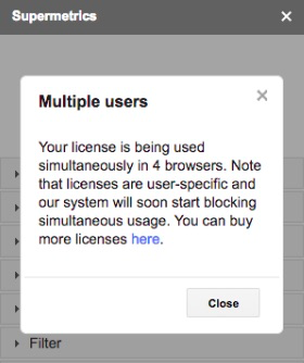 Warning message for using a license in multiple browser instances