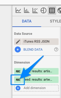 "Blue arrow points to ""abc"" icon next to dimension name to open submenu for data type settings"