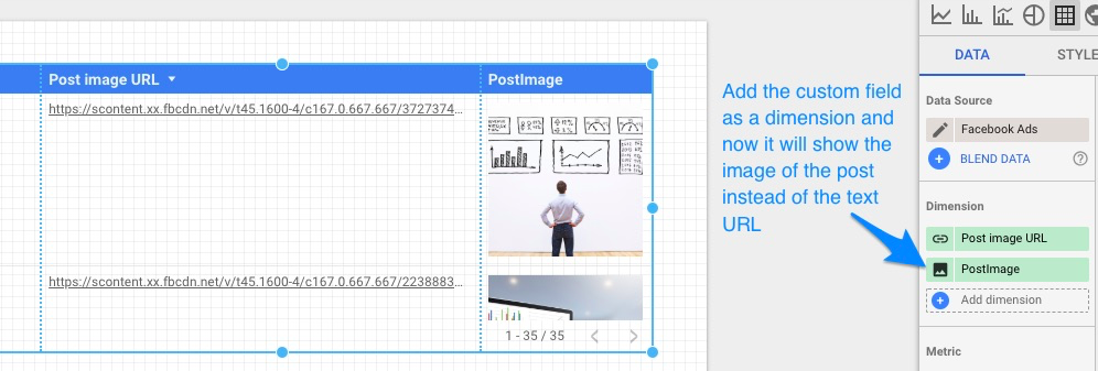 "Blue arrow pointing to custom field ""PostImage"" that now displays the post's image in the table next to the URL dimension that shows only the text"