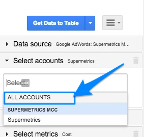 "Blue arrow pointing to account selection drop-down, highlighting the ""ALL ACCOUNTS"" option for AdWords"