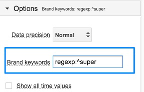Blue box highlighting the 'brand keywords' option