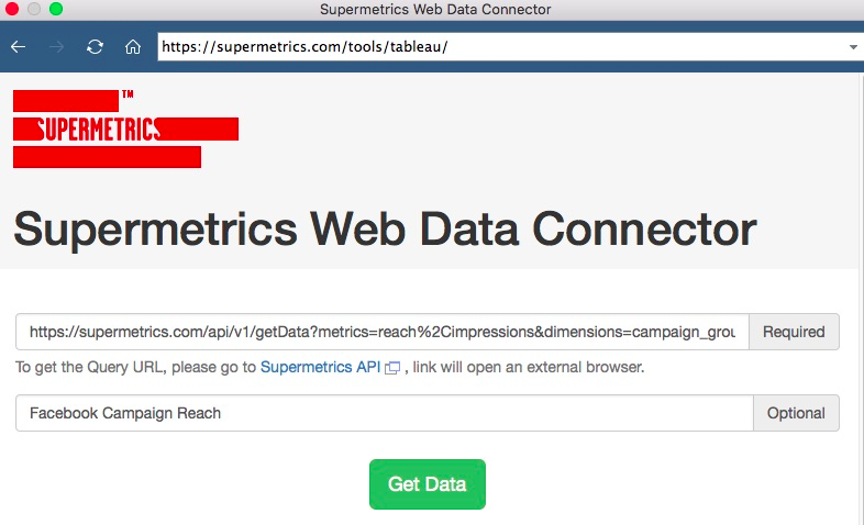 Example setup for getting Supermetrics API data with URL and table name given in the text boxes