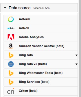 Data Source menu from the Query Builder showing an array of different data sources and their brand icons