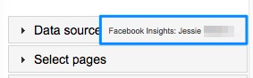 Blue box showing user logged into Facebook Insights data source