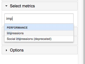 Select metrics section with an example of typing the metric name to find it